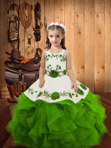 Tulle Lace Up Straps Sleeveless Floor Length Kids Formal Wear Embroidery and Ruffles