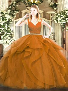 Free and Easy Brown Zipper Sweet 16 Dresses Beading and Ruffles Sleeveless Floor Length