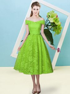 Yellow Green Empire Off The Shoulder Cap Sleeves Lace Tea Length Lace Up Bowknot Court Dresses for Sweet 16