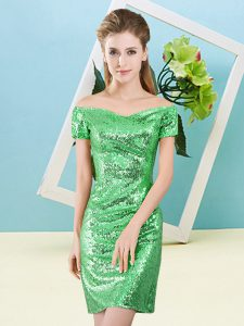 Deluxe Green Zipper Off The Shoulder Sequins Prom Dress Sequined Short Sleeves