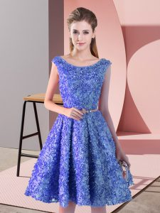Inexpensive Sleeveless Lace Up Knee Length Belt Prom Party Dress