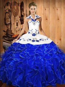 On Sale Embroidery and Ruffles Sweet 16 Quinceanera Dress Blue And White Lace Up Sleeveless Floor Length
