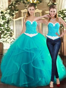 Fashion Turquoise Sweetheart Neckline Ruffles Quinceanera Gown Sleeveless Lace Up