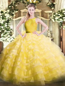 Comfortable Organza Scoop Sleeveless Zipper Ruffled Layers Ball Gown Prom Dress in Yellow