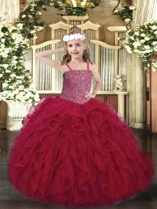Customized Wine Red Sleeveless Floor Length Beading and Ruffles Lace Up Little Girls Pageant Dress