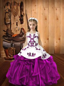 Exquisite Sleeveless Embroidery and Ruffles Lace Up Pageant Gowns For Girls