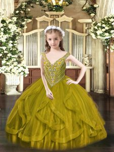Best Olive Green V-neck Lace Up Beading and Ruffles Pageant Gowns For Girls Sleeveless