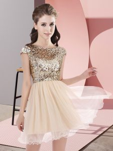 Traditional Cap Sleeves Zipper Mini Length Sequins Quinceanera Court of Honor Dress