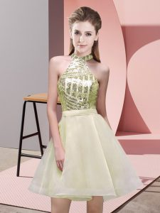 Attractive Light Yellow A-line Chiffon Halter Top Sleeveless Sequins Mini Length Backless Court Dresses for Sweet 16