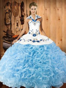 Fabric With Rolling Flowers Halter Top Sleeveless Lace Up Embroidery Ball Gown Prom Dress in Baby Blue