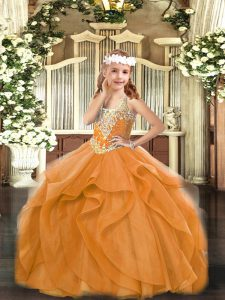 Superior Ball Gowns Pageant Dress for Girls Orange Red V-neck Tulle Sleeveless Floor Length Lace Up