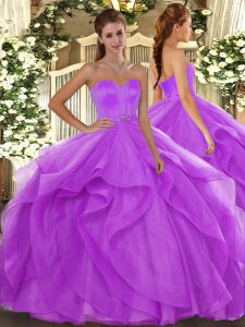 Romantic Lilac Ball Gowns Beading and Ruffles Quince Ball Gowns Lace Up Tulle Sleeveless Floor Length