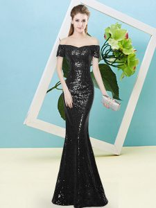 Lovely Sequined Short Sleeves Floor Length Dress for Prom and Sequins