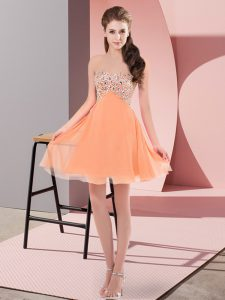 Modern Orange Red Prom Evening Gown Prom and Party with Beading Sweetheart Sleeveless Lace Up