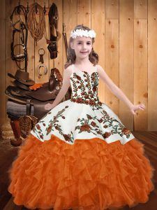 Attractive Orange Red Sleeveless Floor Length Embroidery and Ruffles Lace Up Little Girl Pageant Dress