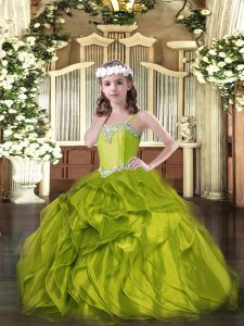 Straps Sleeveless Lace Up Evening Gowns Olive Green Organza