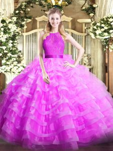 Trendy Organza Scoop Sleeveless Zipper Ruffled Layers Quinceanera Gowns in Lilac
