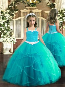 Aqua Blue Tulle Lace Up Kids Formal Wear Sleeveless Floor Length Appliques and Ruffles