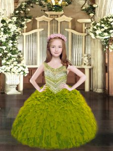 Sleeveless Floor Length Beading and Ruffles Lace Up Little Girl Pageant Dress with Olive Green