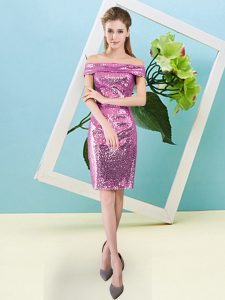Fuchsia Short Sleeves Sequins Mini Length Homecoming Dress