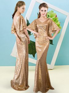 Sequined Half Sleeves Floor Length Prom Dresses and Sequins