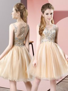 Hot Selling Tulle Sleeveless Knee Length Prom Dress and Beading
