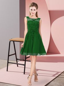 Sexy Dark Green Zipper Scoop Appliques Damas Dress Chiffon Sleeveless