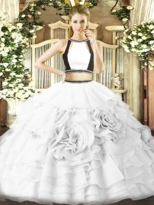 Flare White Quinceanera Gowns Military Ball and Sweet 16 and Quinceanera with Ruffled Layers Halter Top Sleeveless Zipper