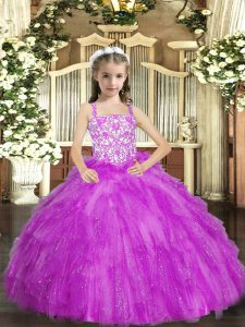 Elegant Sleeveless Lace Up Floor Length Beading and Ruffles Pageant Gowns For Girls