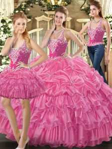 Exquisite Floor Length Lace Up Vestidos de Quinceanera Hot Pink for Military Ball and Sweet 16 and Quinceanera with Beading and Ruffles and Pick Ups