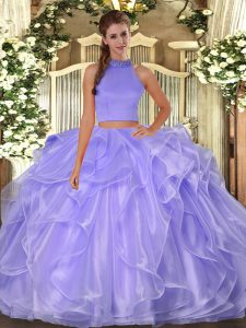 Lavender Halter Top Side Zipper Beading and Ruffles Quinceanera Gown Sleeveless