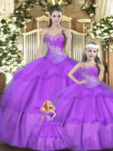 Noble Lilac Sleeveless Tulle Lace Up Sweet 16 Quinceanera Dress for Military Ball and Sweet 16 and Quinceanera