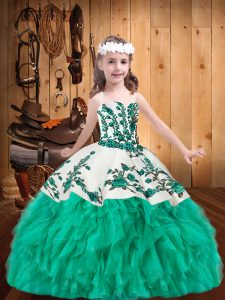 Turquoise Ball Gowns Embroidery and Ruffles Little Girl Pageant Gowns Lace Up Organza Sleeveless Floor Length