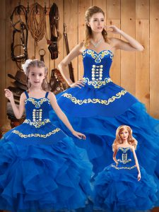 Lovely Blue Ball Gowns Sweetheart Sleeveless Tulle Floor Length Lace Up Embroidery Sweet 16 Quinceanera Dress