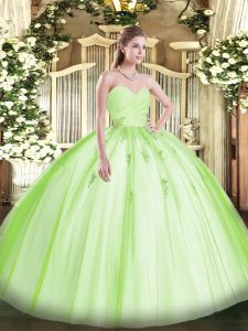 Yellow Green Ball Gowns Beading and Appliques Quinceanera Gown Lace Up Tulle Sleeveless Floor Length
