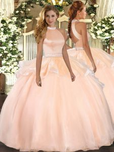 Sexy Halter Top Sleeveless 15 Quinceanera Dress Floor Length Beading and Ruffles Peach Tulle