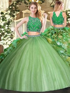 Pretty Sleeveless Tulle Floor Length Zipper 15th Birthday Dress in Olive Green with Beading and Ruffles