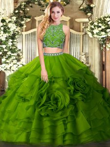 Olive Green Tulle Zipper Quinceanera Dresses Sleeveless Floor Length Beading and Ruffled Layers