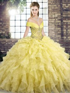 Shining Sleeveless Beading and Ruffles Lace Up Quinceanera Dress with Yellow Brush Train