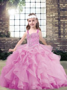 Lilac Tulle Lace Up Straps Sleeveless Floor Length Girls Pageant Dresses Beading and Ruffles
