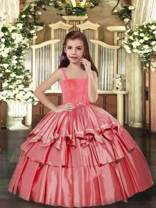 Coral Red Sleeveless Ruffled Layers Floor Length Pageant Dresses