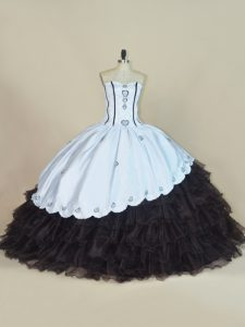 Fantastic Sleeveless Floor Length Embroidery and Ruffled Layers Lace Up Ball Gown Prom Dress with White And Black