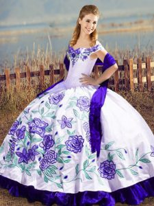Adorable Off The Shoulder Sleeveless Quinceanera Dresses Floor Length Embroidery and Ruffles White And Purple Satin and Organza