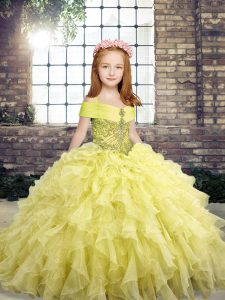 Hot Sale Yellow Organza Lace Up Straps Sleeveless Floor Length Little Girl Pageant Dress Beading and Ruffles