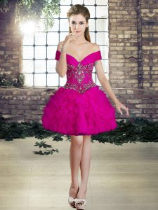 Fitting Fuchsia Sleeveless Tulle Lace Up Dress for Prom for Prom and Party