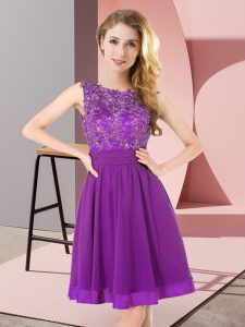 Fancy Purple Scoop Neckline Beading and Appliques Quinceanera Court Dresses Sleeveless Backless