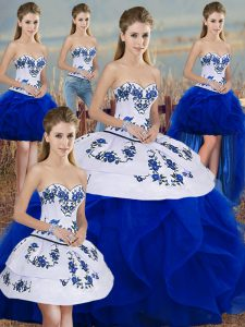 Exceptional Sleeveless Floor Length Embroidery and Ruffles and Bowknot Lace Up Sweet 16 Quinceanera Dress with Royal Blue