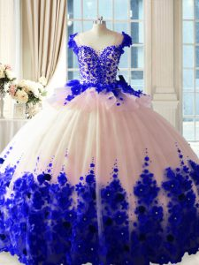 Admirable Sleeveless Hand Made Flower Zipper Quinceanera Gowns with Blue And White Brush Train