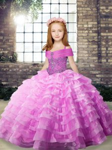 Lilac Little Girls Pageant Dress Wholesale Party and Wedding Party with Beading and Ruffled Layers Straps Sleeveless Brush Train Lace Up