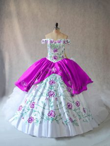 Off The Shoulder Sleeveless Organza Quinceanera Gowns Embroidery and Ruffles Lace Up